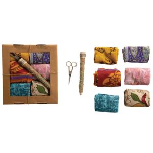 Creative Co-Op Wrapping Kit | Vintage Silk Sari | Set of 8