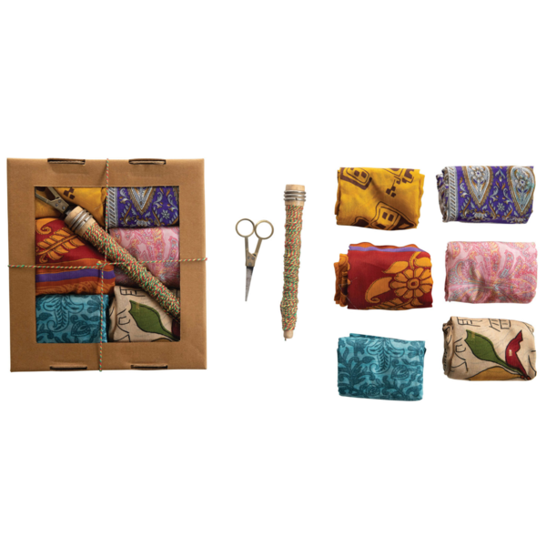 Creative Co-Op Cloth Wrapping Kit | Vintage Silk Sari | Set of 8