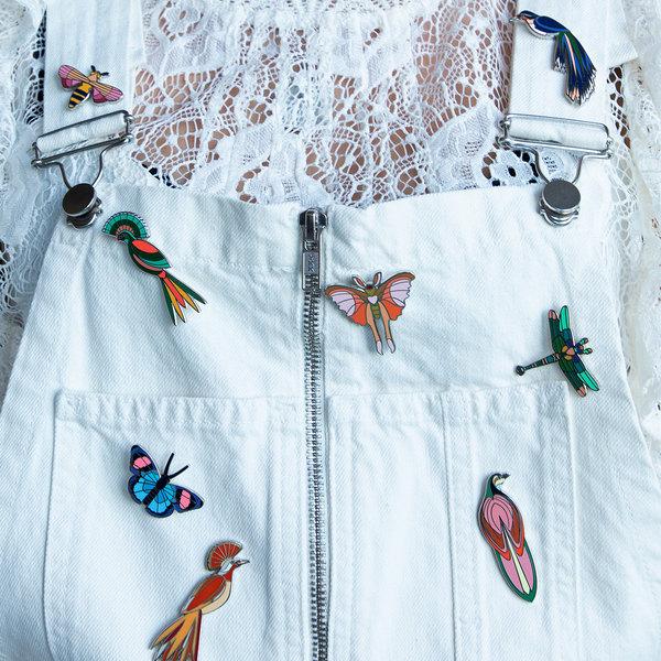 Studio Roof Enamel Bird Pins