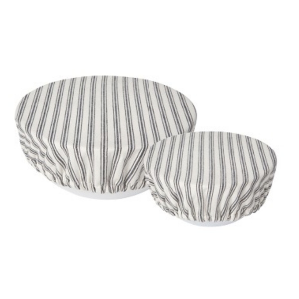 Bowl Covers   Set of 2   Ticking Stripe