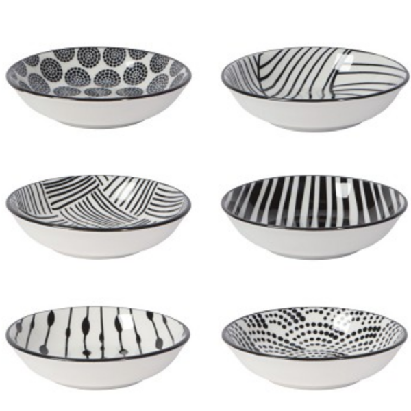 Now Designs Pinch Bowls | Dots Black | Set of 6