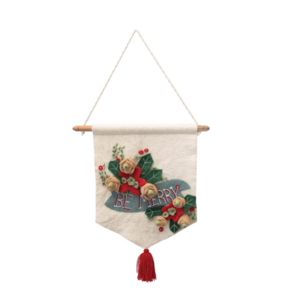 Creative Co-Op Wall Hanging | Holiday Floral | 16 x 17.5""