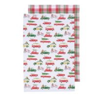 Now Designs Tea Towel   Set of 2   Holiday Cars