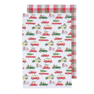 Now Designs Tea Towel | Set of 2 | Holiday Cars