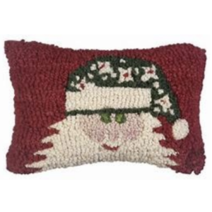 Chandler 4 Corners Hooked Pillow | 8x12 | Green Hat Santa
