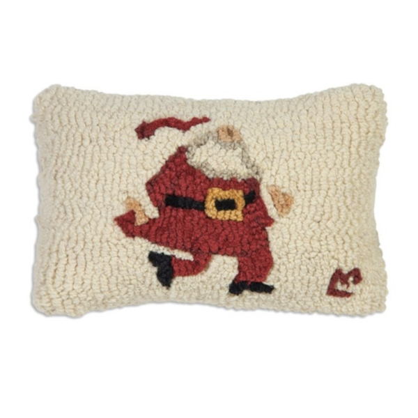 Chandler 4 Corners Hooked Pillow | 8x12 | Santa on the Go