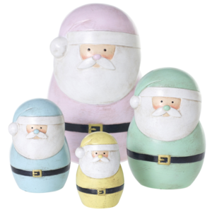 Accent Decor Santa | Pastel Figures | Set of 4