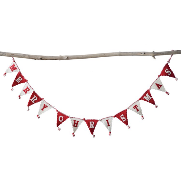 Creative Co-Op Pennant Flag Banner | Red/White Merry Christmas