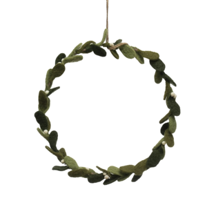 Creative Co-Op Wreath | Wool Felt Mistletoe | 11""