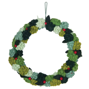 Creative Co-Op Wreath | Round Felt Floral | 12""