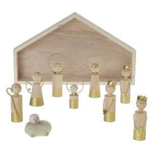 Accent Decor Nativity Scene | Gold Dip Wood