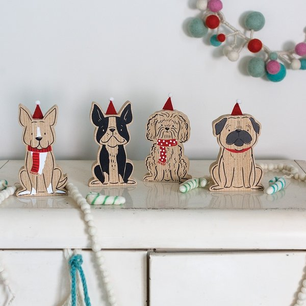 Accent Decor Santa Dogs | Set of 4