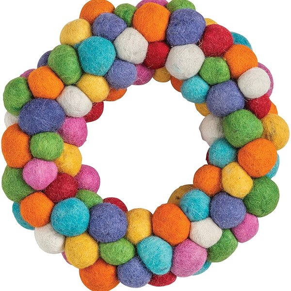 Creative Co-Op Felt Wreath | Pom Multi | 11""