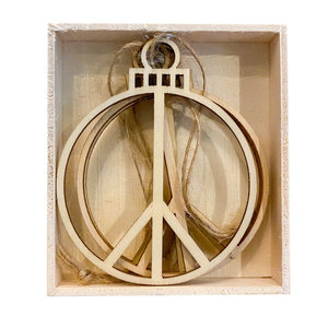 Accent Decor Ornament | Wood Peace Sign