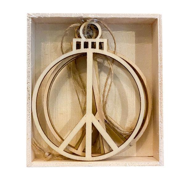 Accent Decor Ornament | Wood Peace Sign