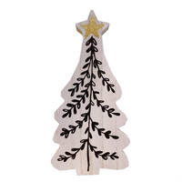 Creative Co-Op Wooden Tree | Black/Gold 9.75""