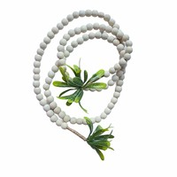 Creative Co-Op Garland | White Wood Beads + Faux Leaves