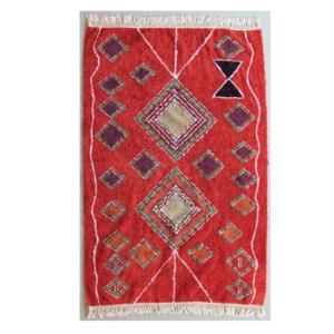 Kalalou Fringed Rug | Red