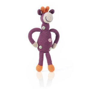 Pebble Knit Rattle   Organic Purple Giraffe