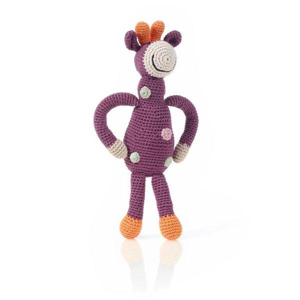 Pebble Crochet Rattle | Organic Purple Giraffe