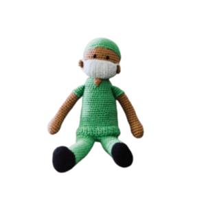 Pebble Knit Toy   Hospital Hero   Green Scrubs