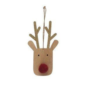 Creative Co-Op Ornament | Wood Rudolph