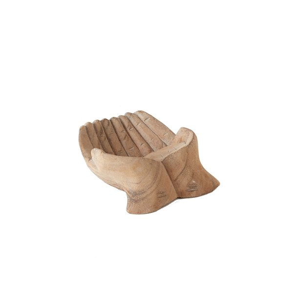 Accent Decor Offering Bowl   Wood Hands