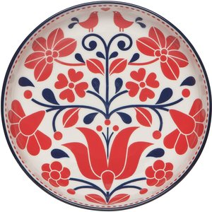 Now Designs Stamped Shallow Bowl | Red/Navy Bird