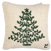 "Chandler 4 Corners Hooked Pillow | 18"" Vintage Tin Tree"