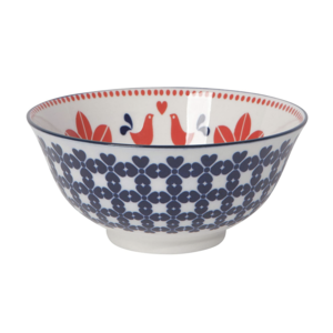 Now Designs Stamped Bowl | Red/Navy Bird