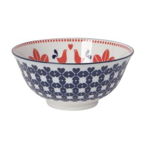 Stamped Bowl | Red/Navy Bird