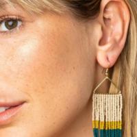 "Earrings | Triangle | 3"" Fringe | Color Block"