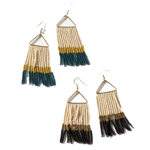 "Earrings | Triangle | 3"" Fringe 