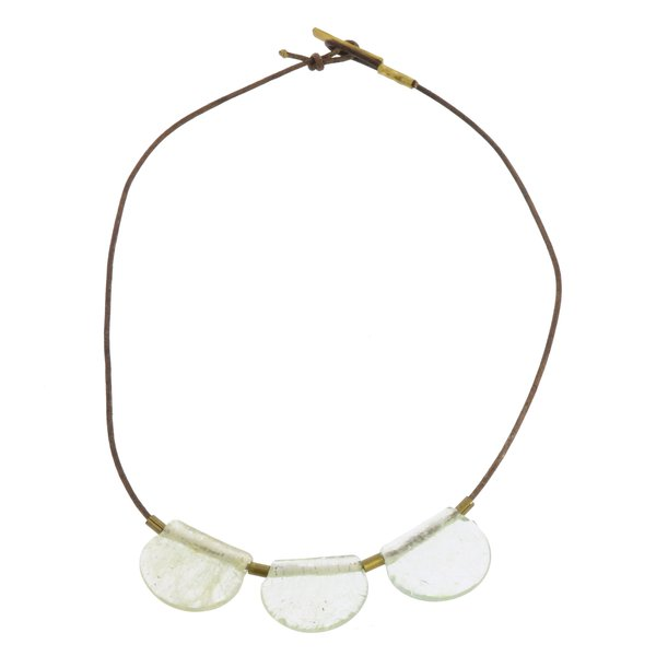 Brass Necklace | Playa | Glass Drop