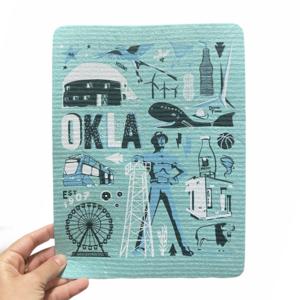 Fiddler's Elbow Hydro Cloth/PLENTY Made | Oklahoma Icons | Blue on Blue