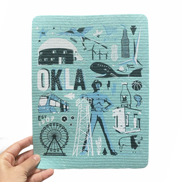Fiddler's Elbow Hydro Cloth/PLENTY Made   Oklahoma Icons   Blue on Blue