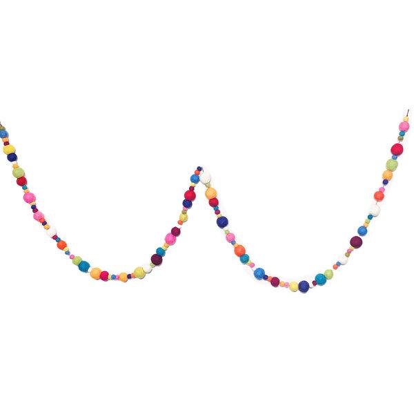 Giftsland Felt Ball Garland | Colorful Multi-Size