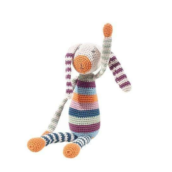 Pebble Crochet Toy   Organic Rainbow Bunny