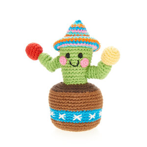 Pebble Crochet Rattle | Green Cactus
