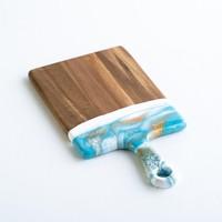 Lynn & Liana Serveware Cheeseboard    Acacia Wood   Teal/White/Gold
