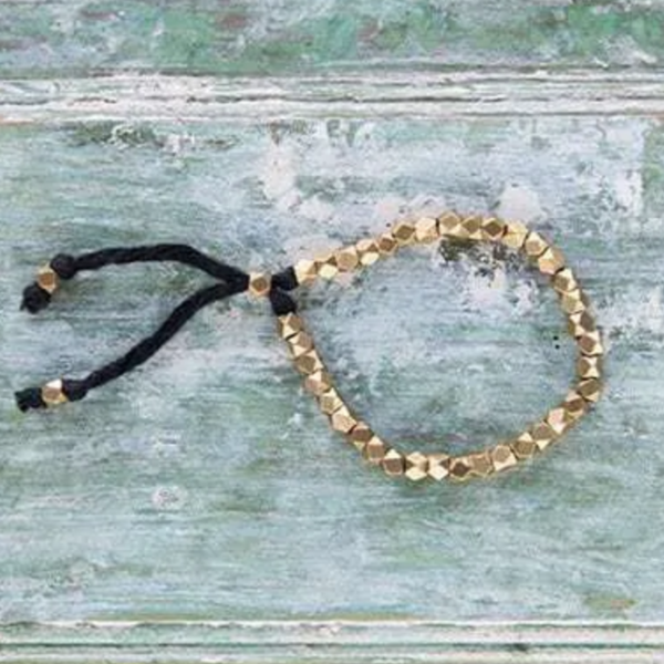 Baizaar Brass Bracelet   Faceted Geometric Beads