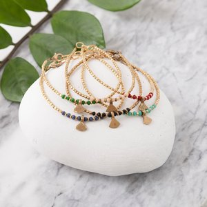 Baizaar Beaded Bracelets | Brass Triangle Drop