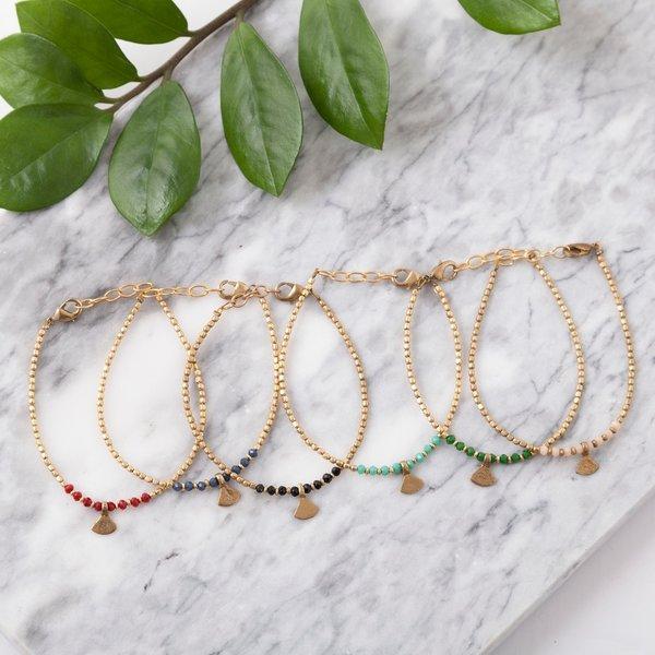 Baizaar Beaded Bracelets | Brass Triangle Drop