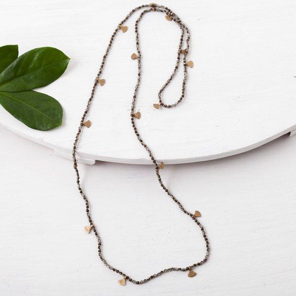 Baizaar Long Beaded Necklaces   Brass Fan Drops