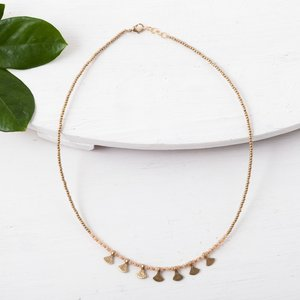 Baizaar Beaded Necklaces | Brass Fan Drops