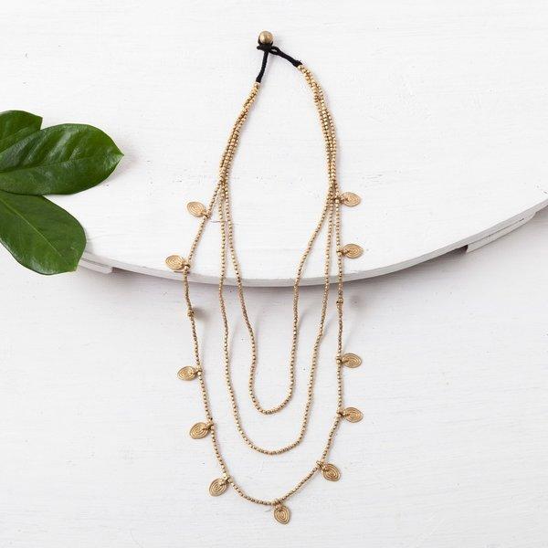 Baizaar Necklace | Brass Beaded | 3-Strand