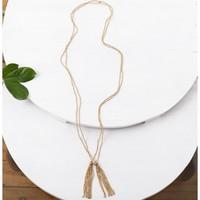 Baizaar Brass Necklace | Beaded | Double Tassel