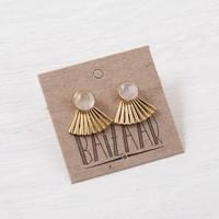 Baizaar Stud Earrings | Brass Fan | Moonstone