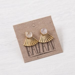 Baizaar Stud Earrings | Brass Fan | Moonstone