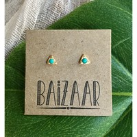 Baizaar Stud Earrings | Turquoise Stone Droplet